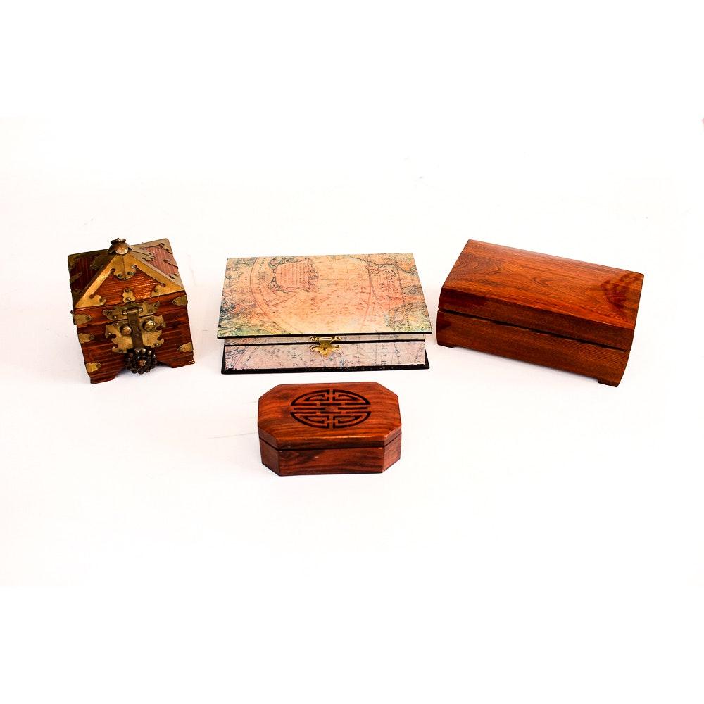 Set of Worldly Decorative Storage Boxes