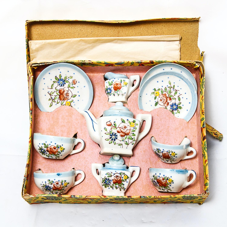 Antique Miniature Porcelain Tea Set
