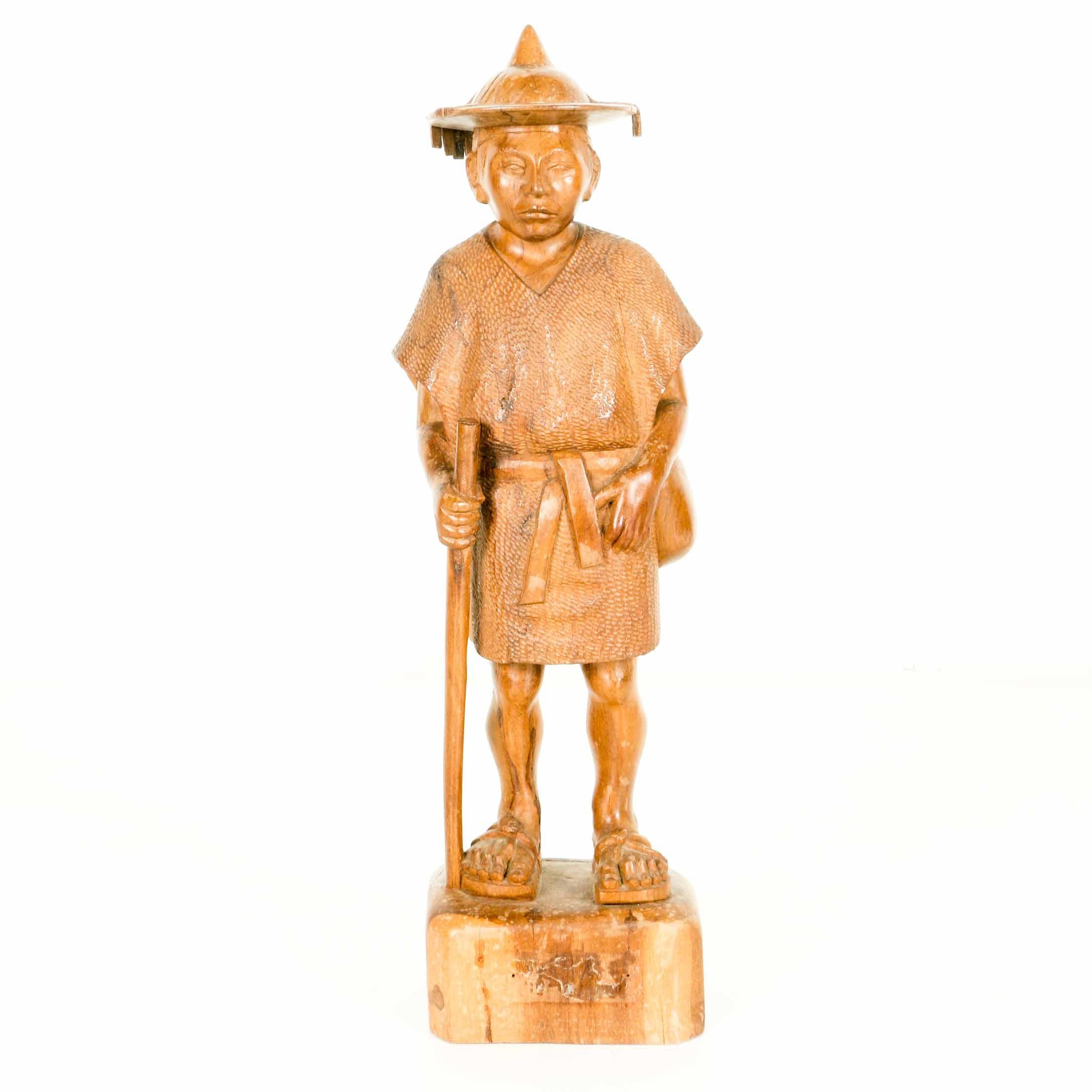Carved Teak Asian Traveler Statue