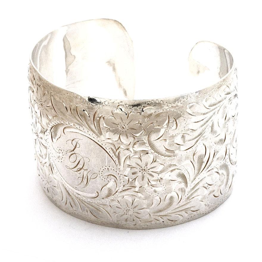 6682eee389d Ronald J. Wanko Wide Sterling Silver Monogrammed Cuff Bracelet Engraved  with Scrolling Florals ...