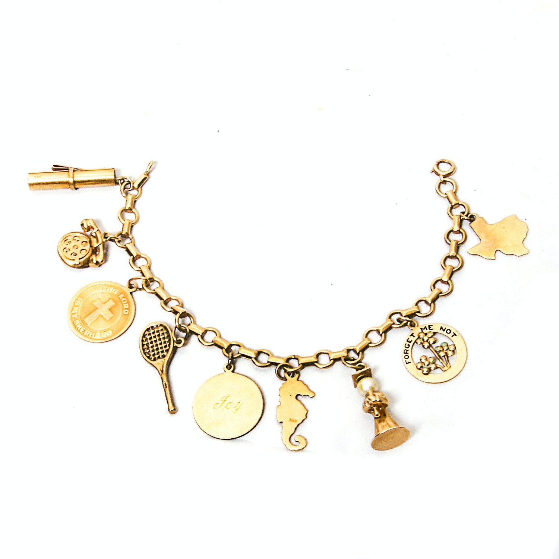 14k gold charm bracelet ebth