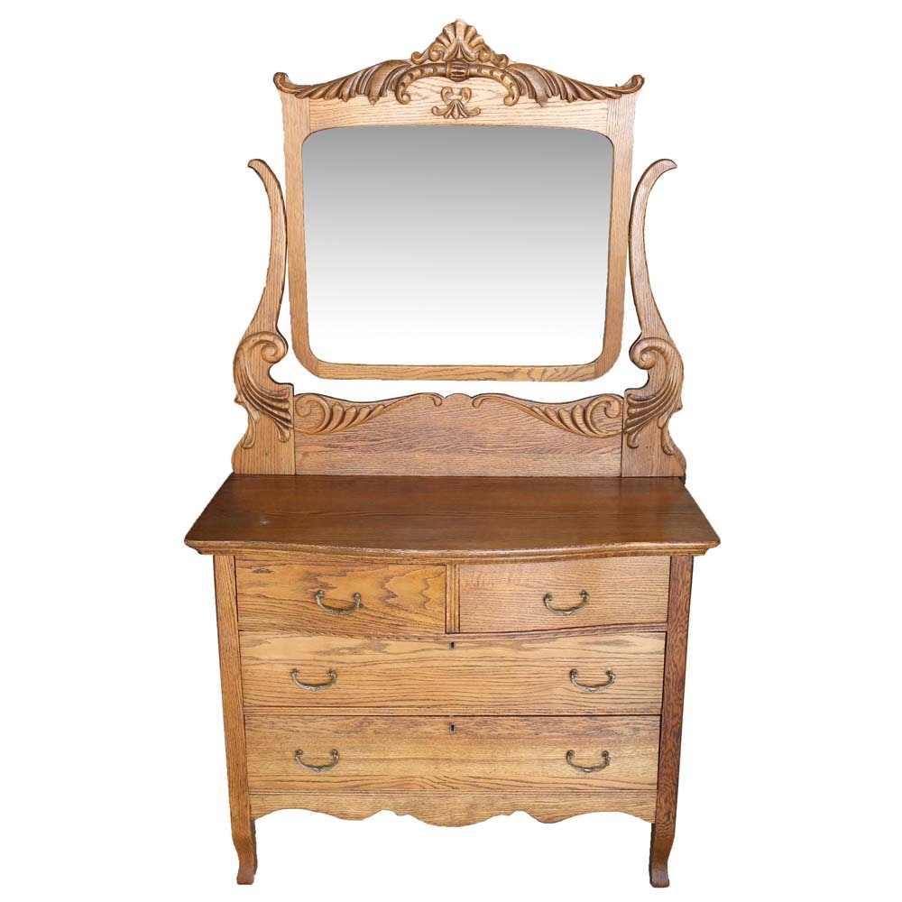 Early 20th Century Oak Dresser With Mirror by Estey Manufacturing