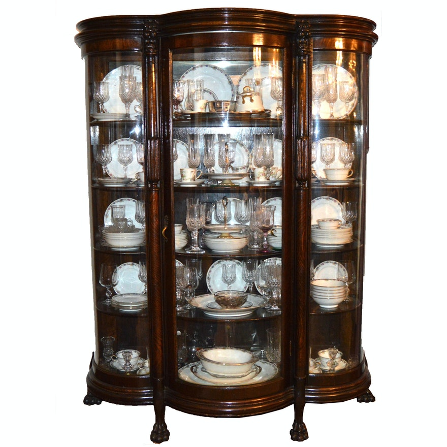 Antique Bow Front China Cabinet ... - Antique Bow Front China Cabinet : EBTH