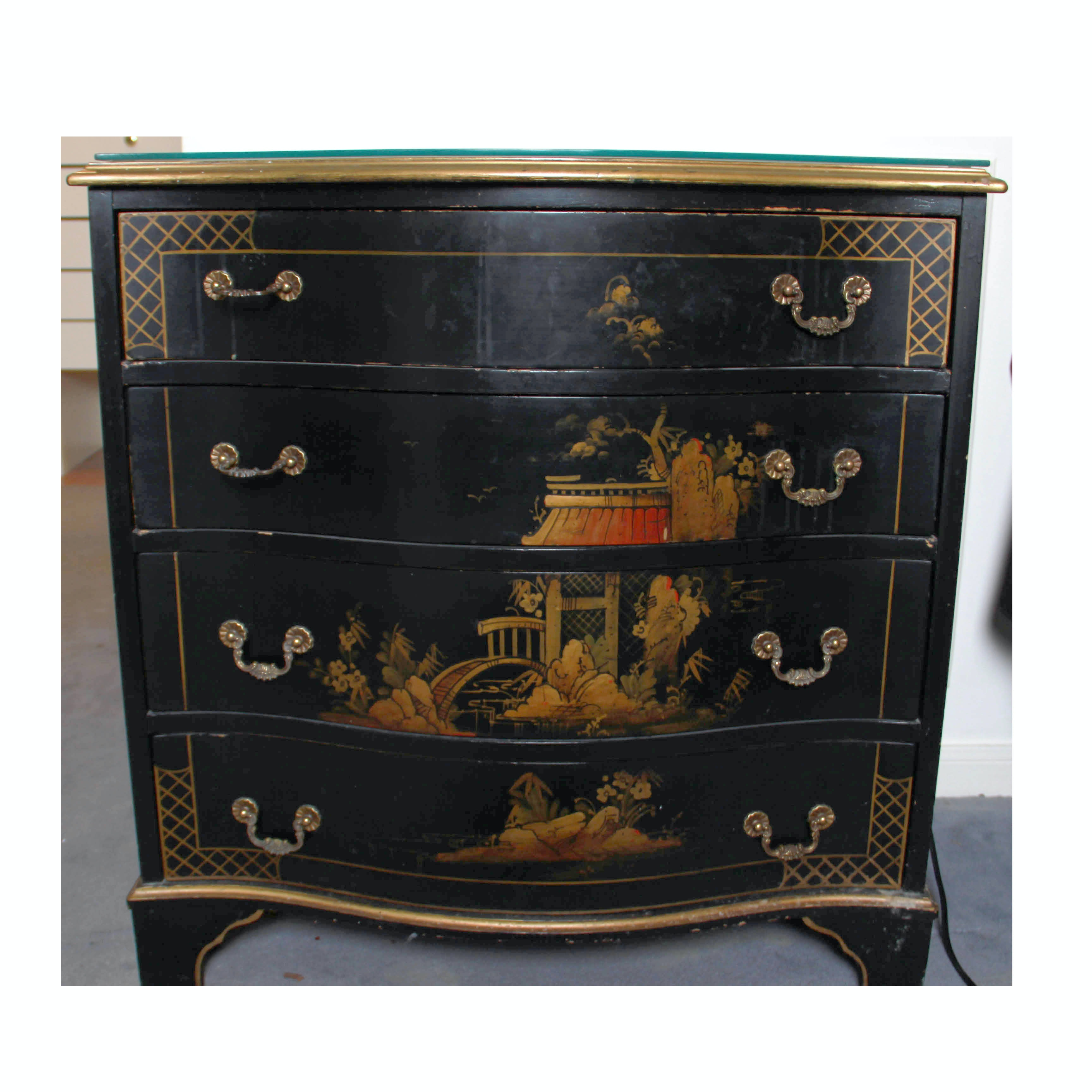 Vintage Black Lacquer Chinoiserie Chest of Drawers