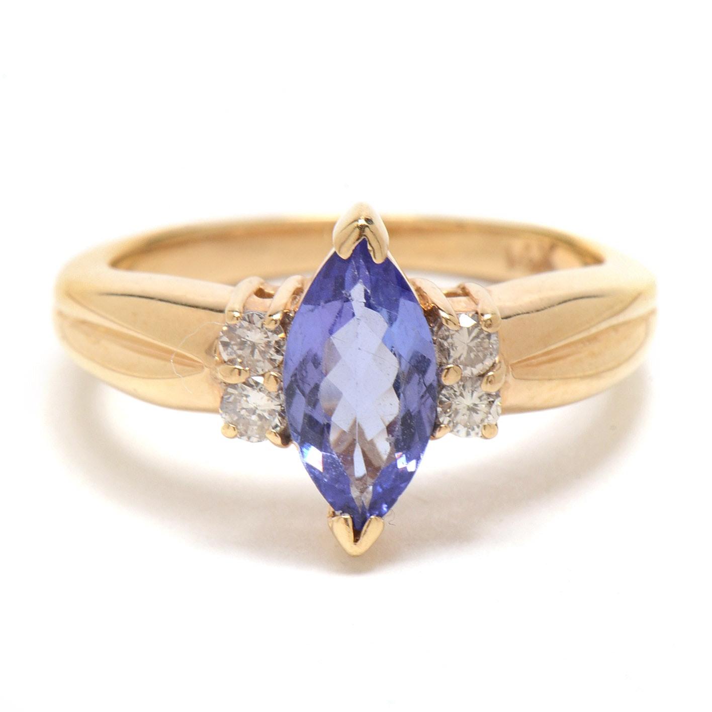 14K Yellow Gold Tanzanite Diamond Fashion Ring