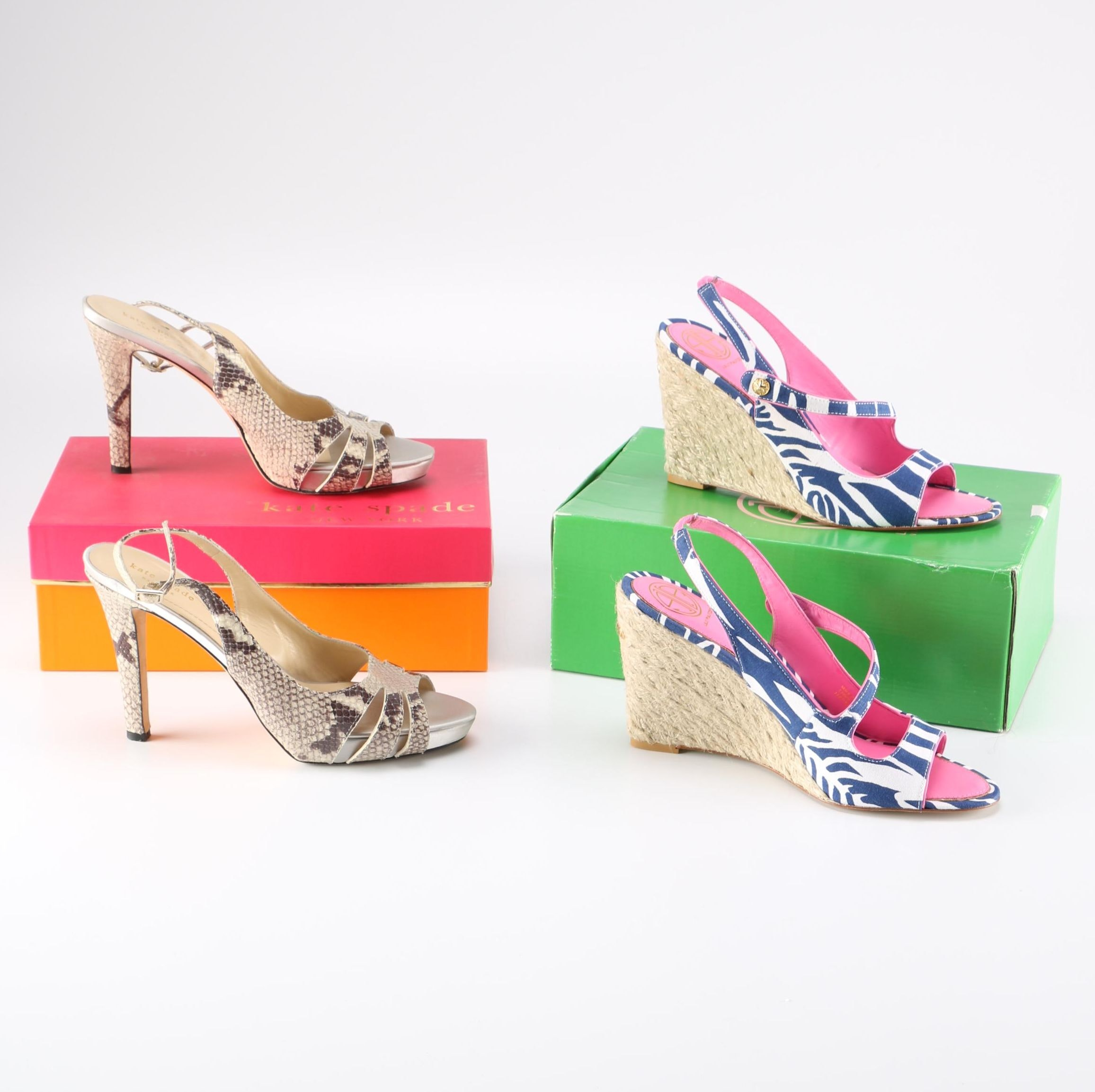 Kate Spade Snakeskin Pumps and Lilly Pulitzer Wedges