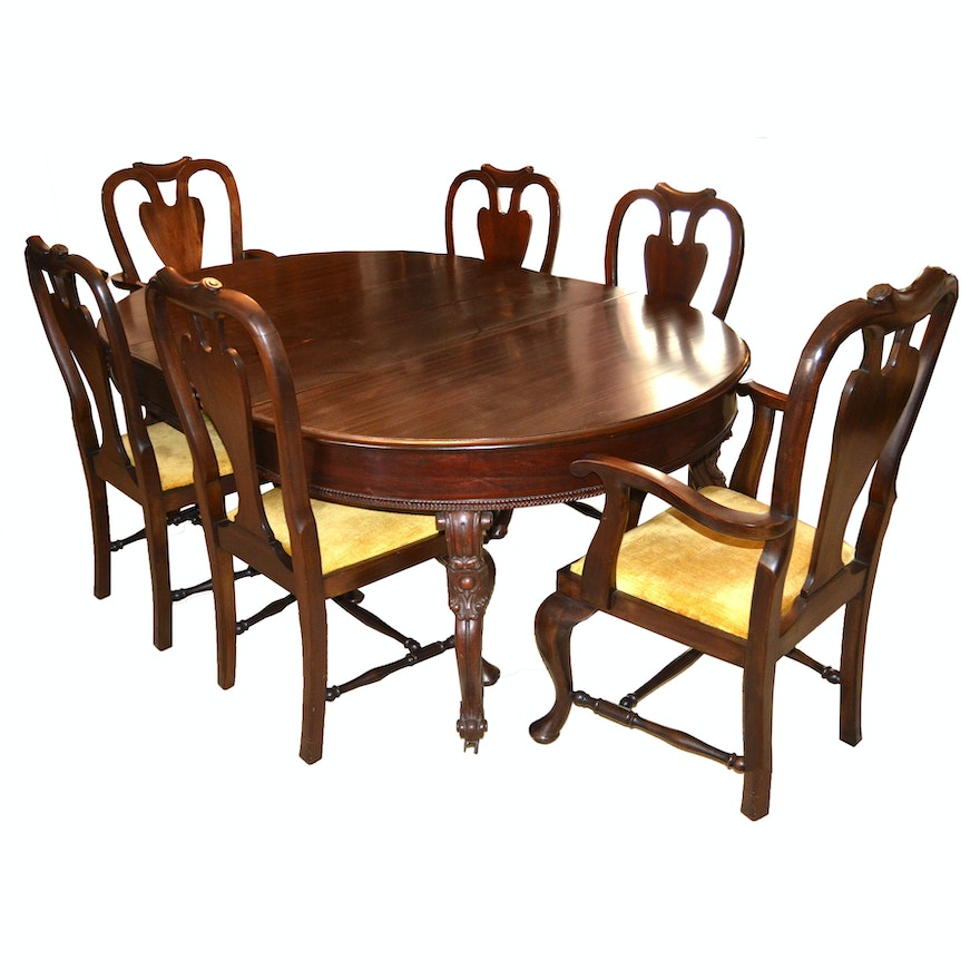 Antique Mahogany Chippendale Dining Table And Eight Chairs