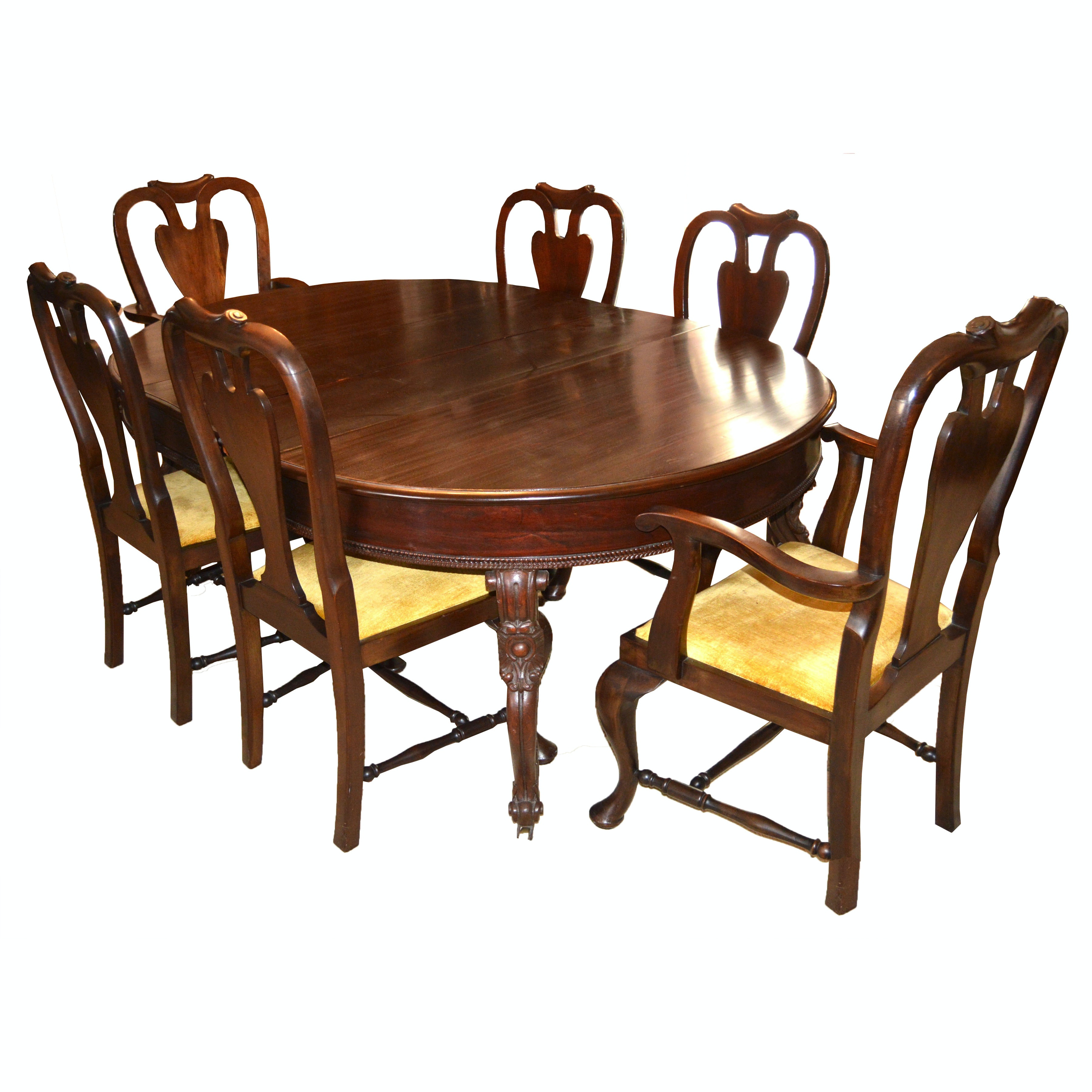 Antique Mahogany Chippendale Dining Table And Eight Chairs ...