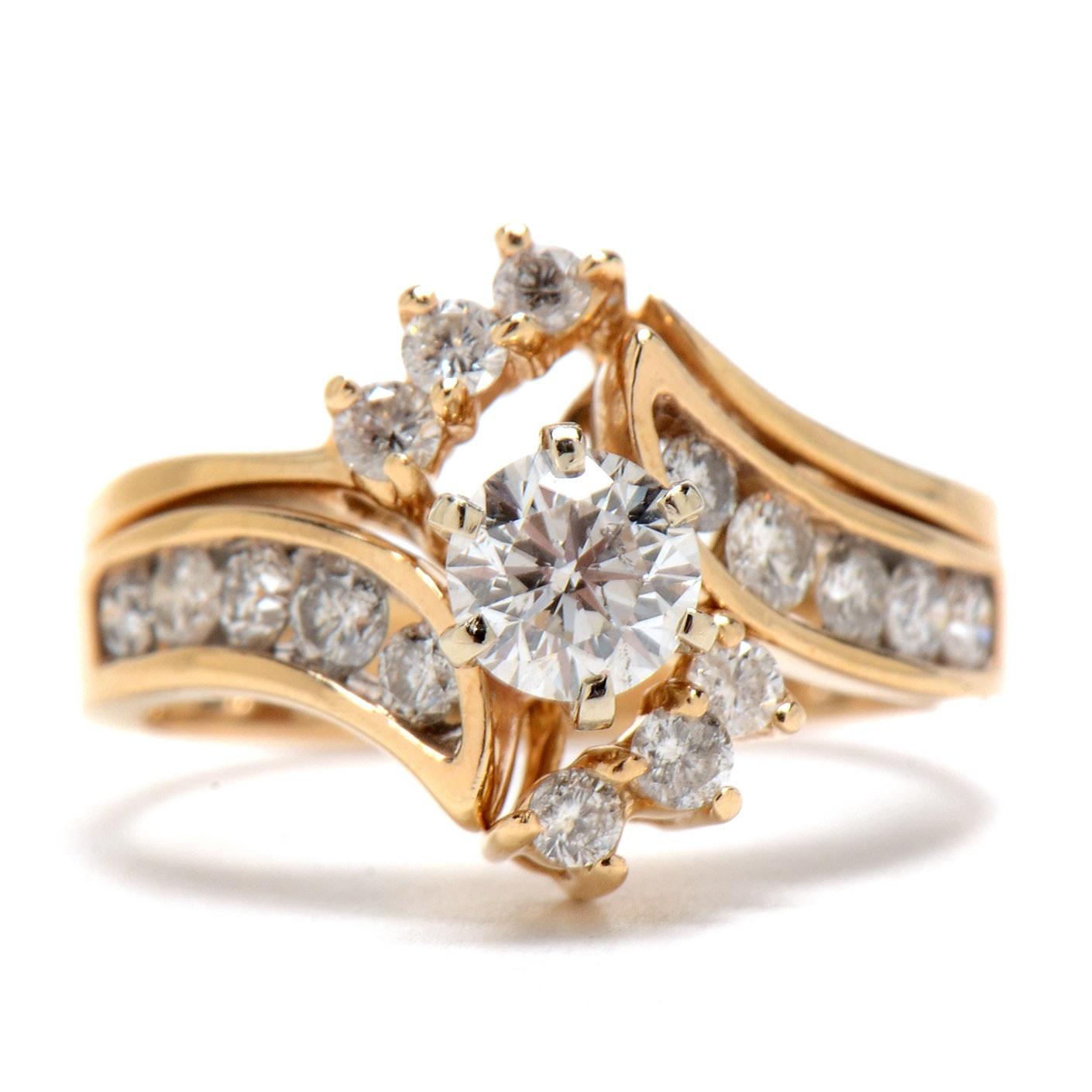 14K Yellow Gold Diamond Wedding Set