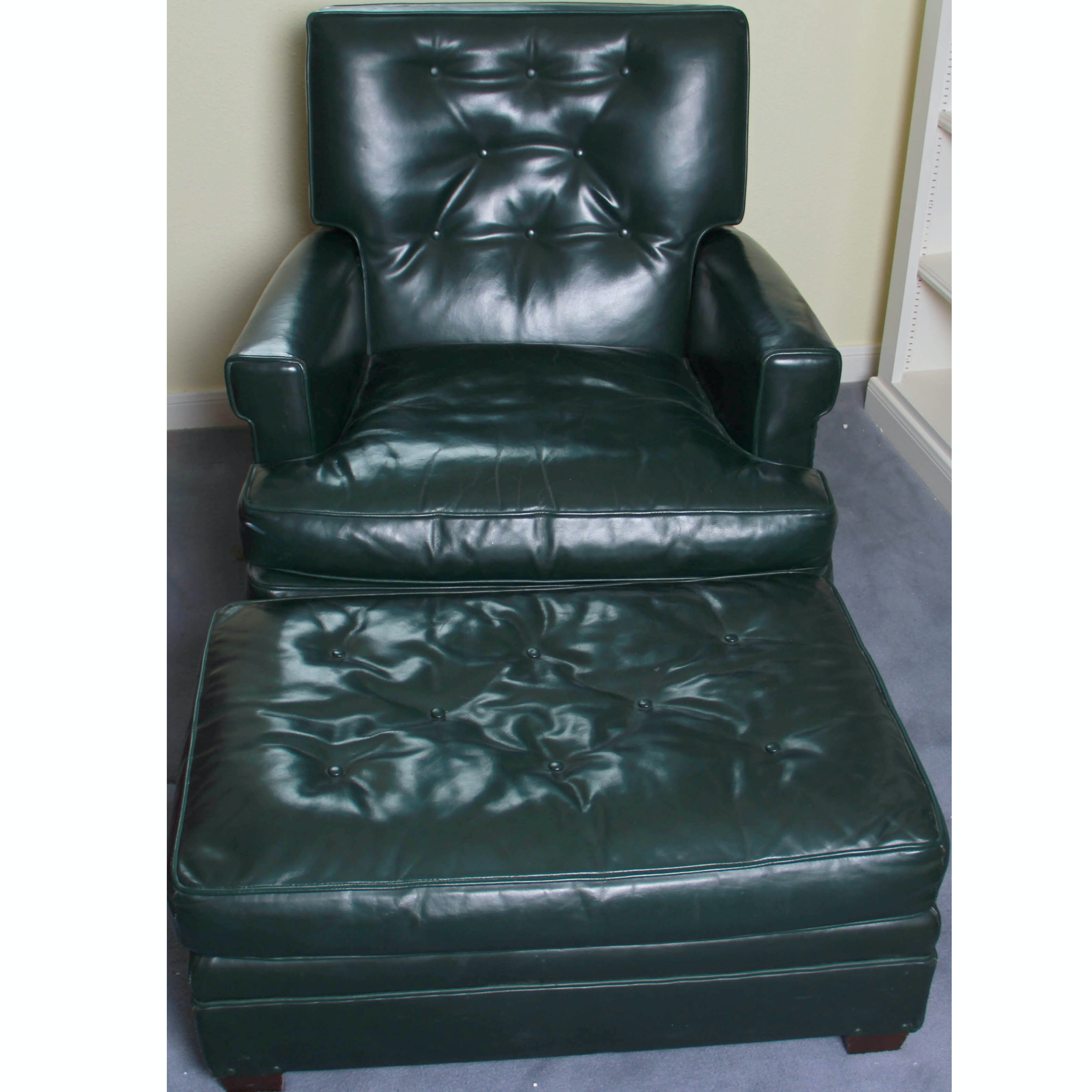 Vintage Kittinger Green Leather Reclining Chair And Ottoman ...