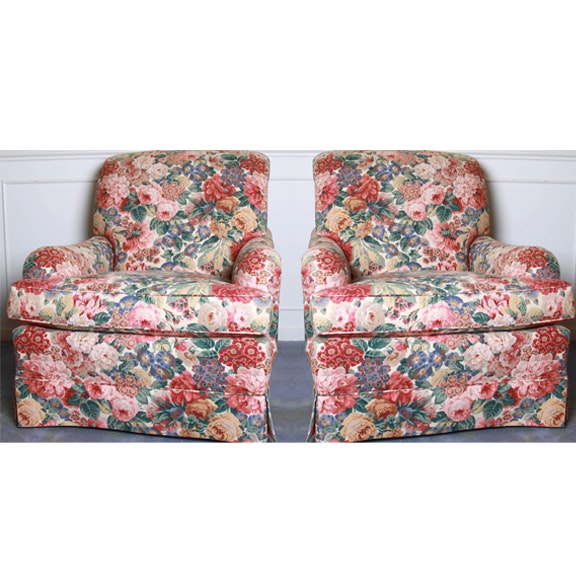 Floral Armchairs With Matching Ottomans By TRS Furniture, Inc. ...
