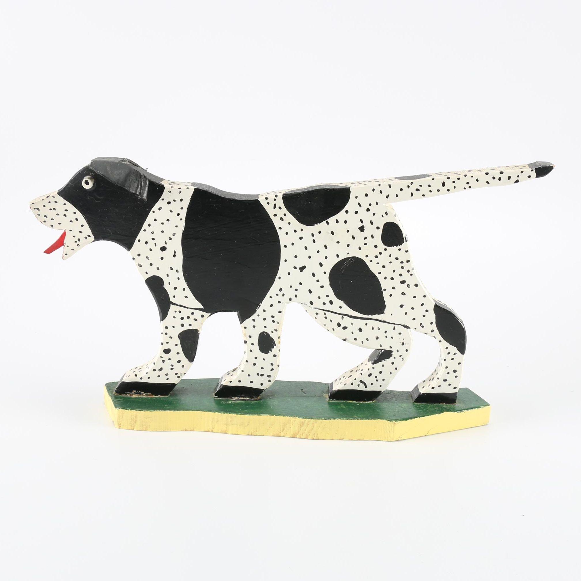 Marvin Finn Folk Art Wooden Dog Sculpture (1985)