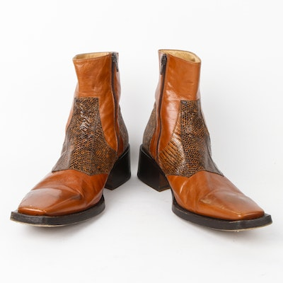 Men's Vintage Gianni Barbato Snakeskin and Leather Boots