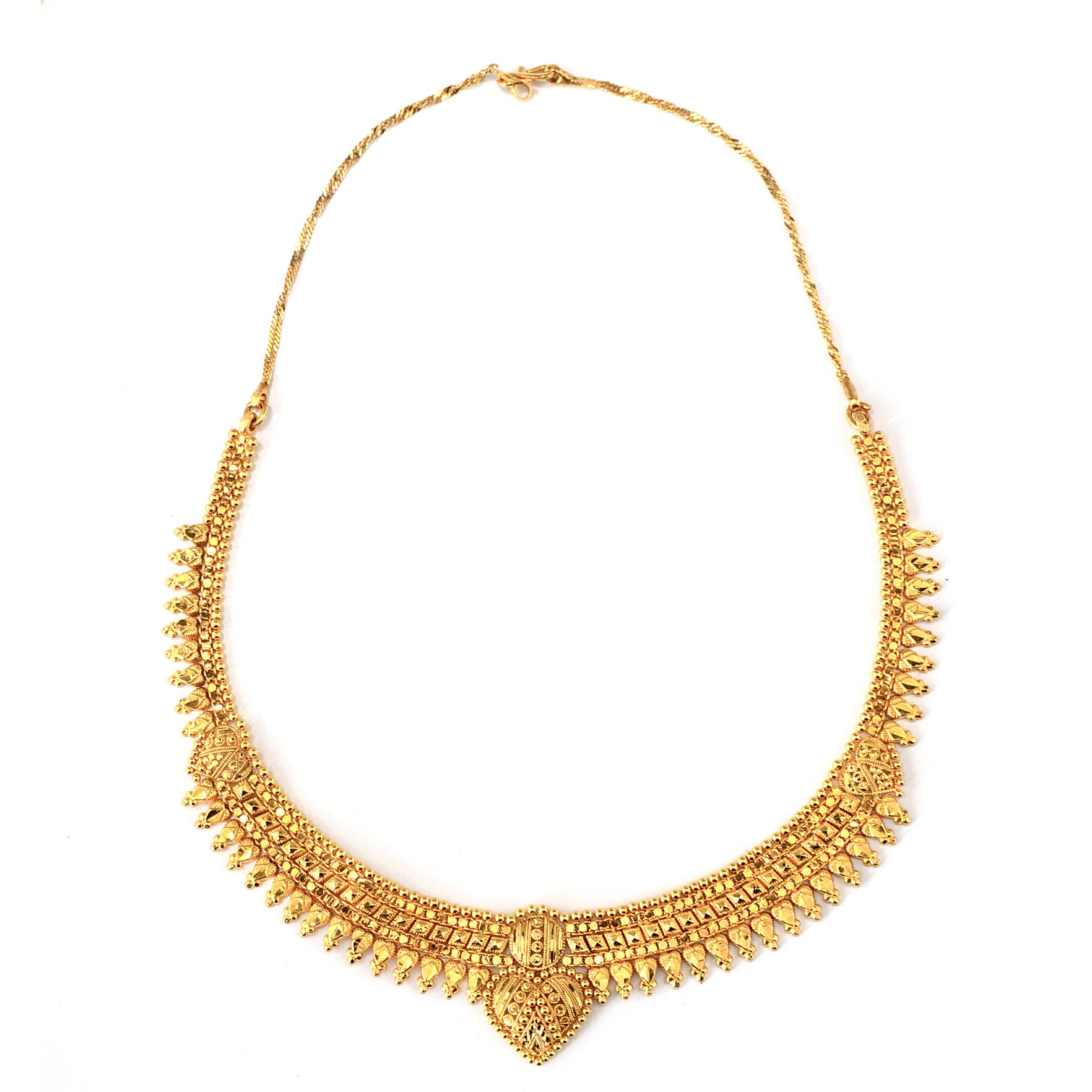 22K Yellow Gold Indian Collar Link Chain Necklace with Hearts