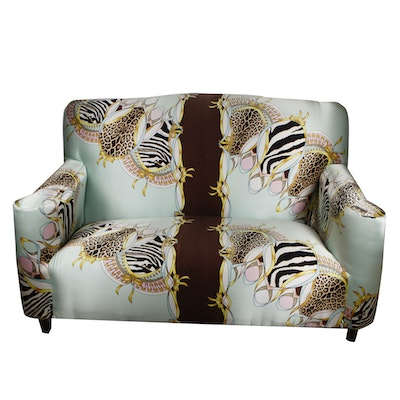 Settee with Roberto Cavalli Silk Patterned Upholstery