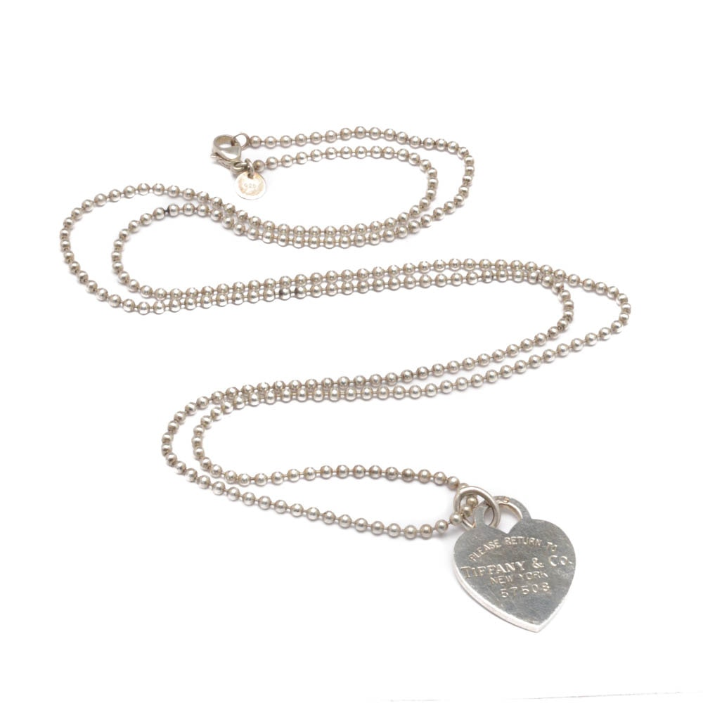 """Sterling Silver Tiffany & Co. """"Return to Tiffany"""" Heart Necklace"""