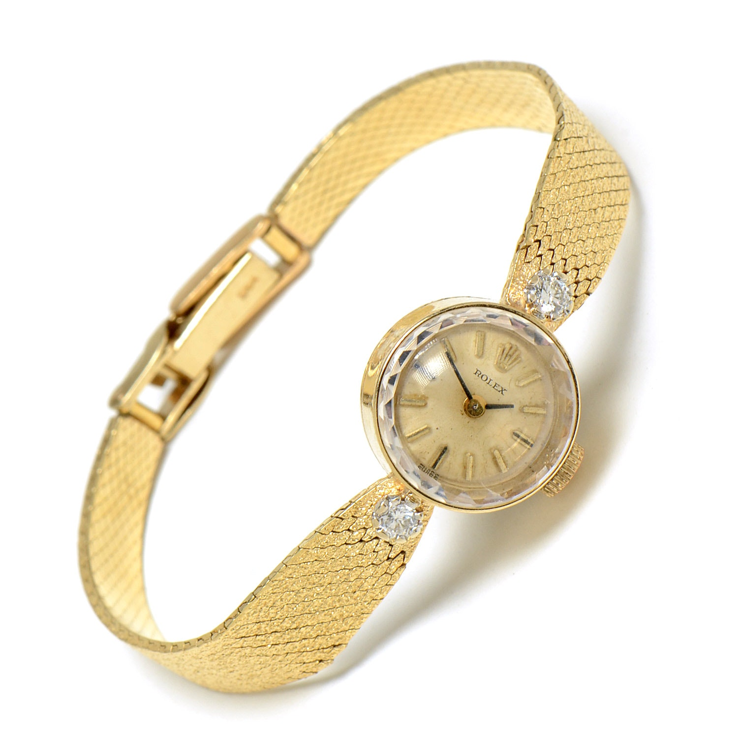 Women's 14K Yellow Gold Rolex Diamond Wristwatch