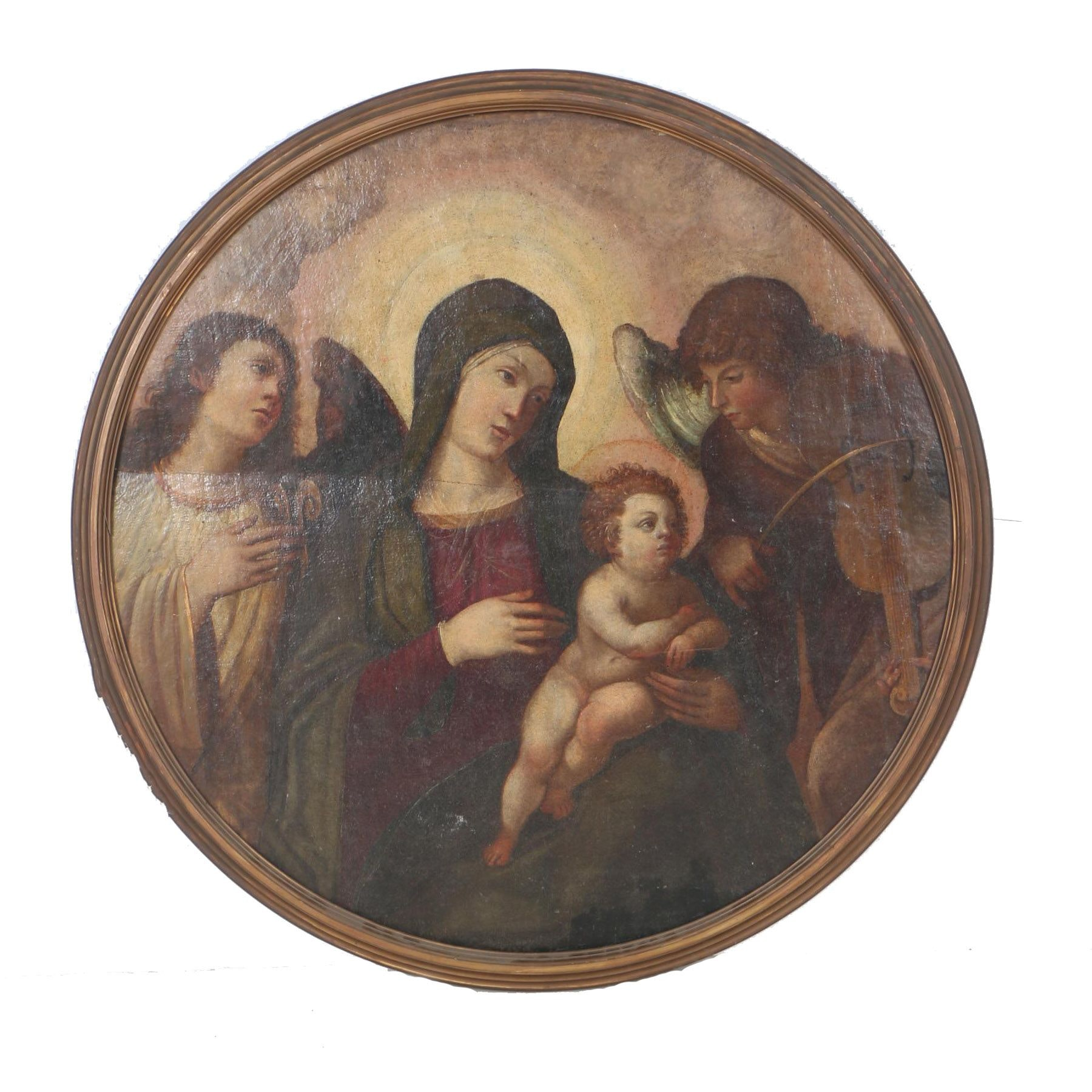 Antique Original Oil on Board of the Madonna and Child Surrounded by Angels