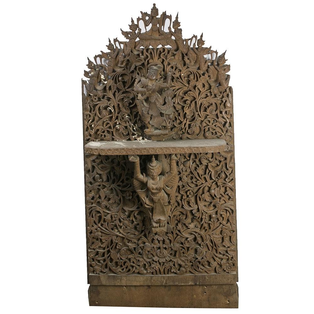 Southeast Asian Carved Figural Wall Shelf