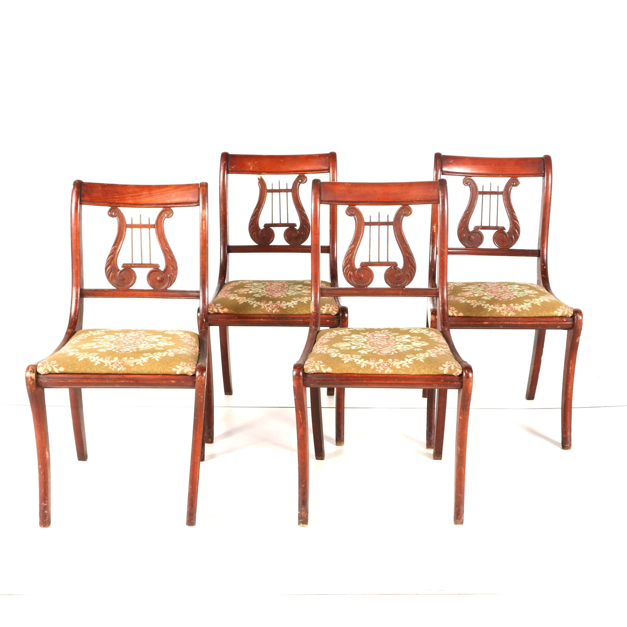 Mahogany Lyre Back Dining Chairs With Floral Upholstery