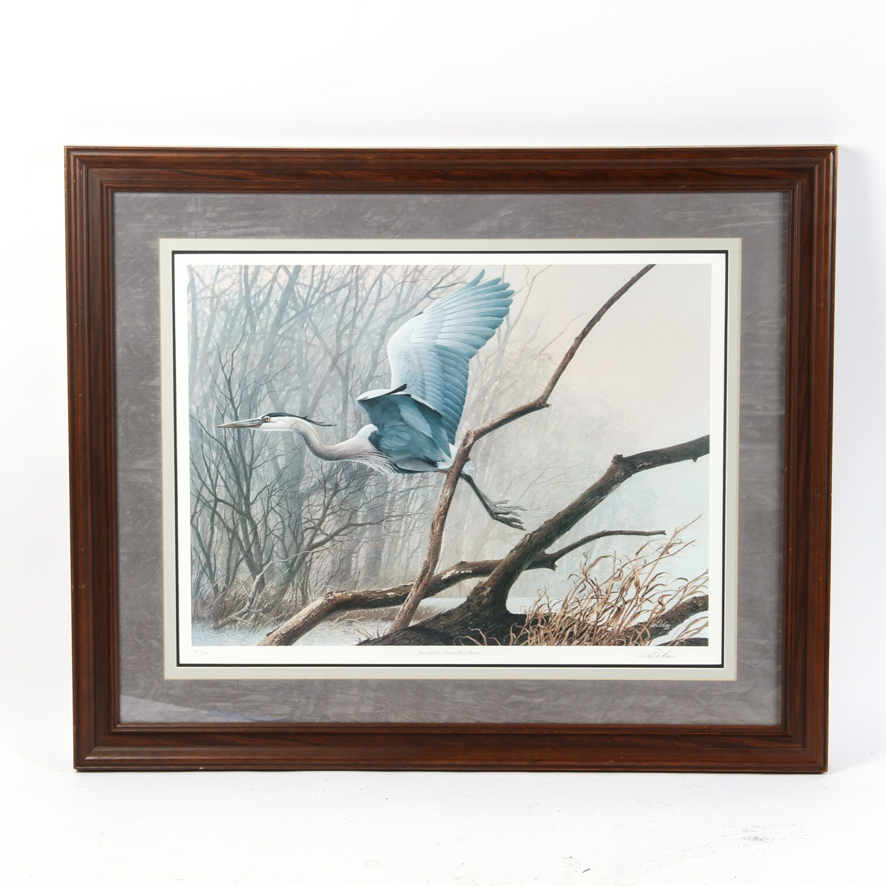 "Les Didier Signed Limited Edition Print ""Moving On Great Blue Heron"""