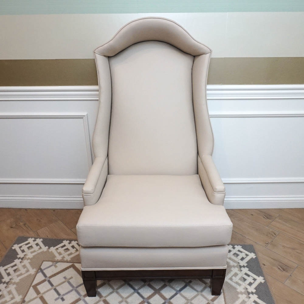 Ivory Leather Upholstered Bonnet Chair