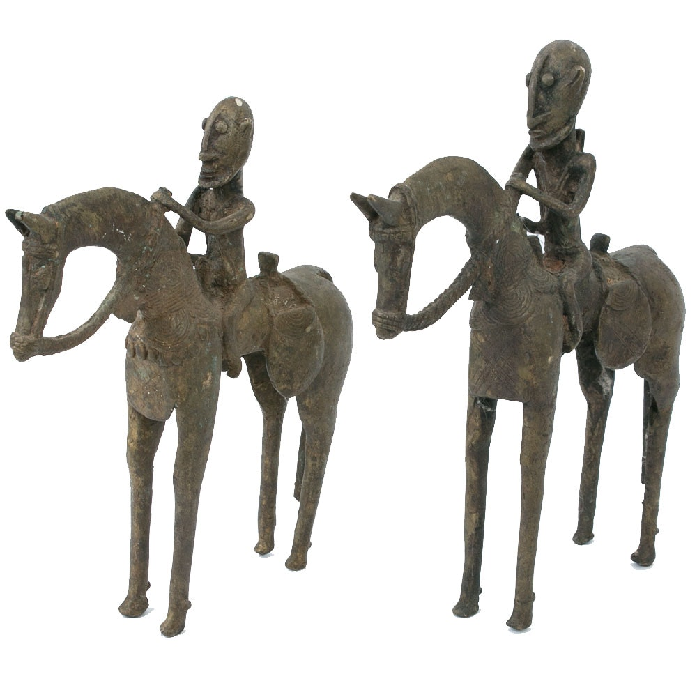 Pair of Solid Metal Tribal Horse and Rider Sculptures
