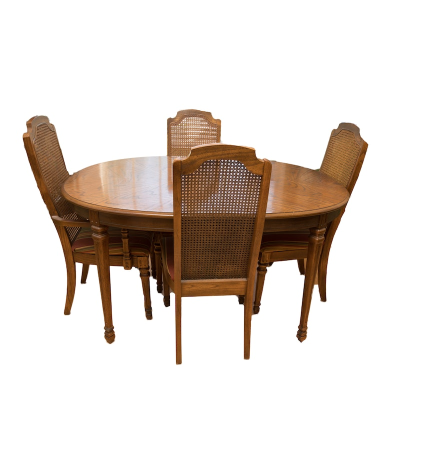 Oval dining room table with four cane back chairs ebth for Four chair dining table