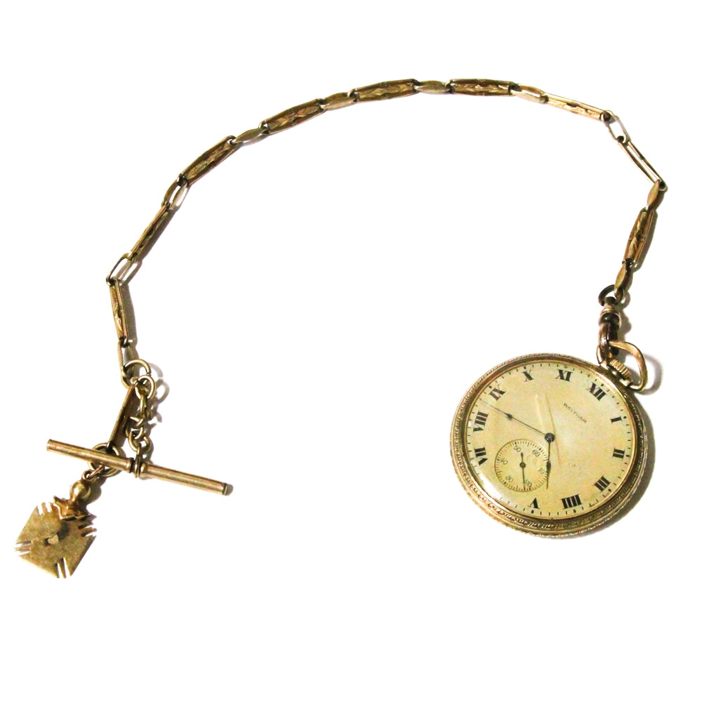 Waltham Pocket Watch in 10K Gold Rolled Case and Fob