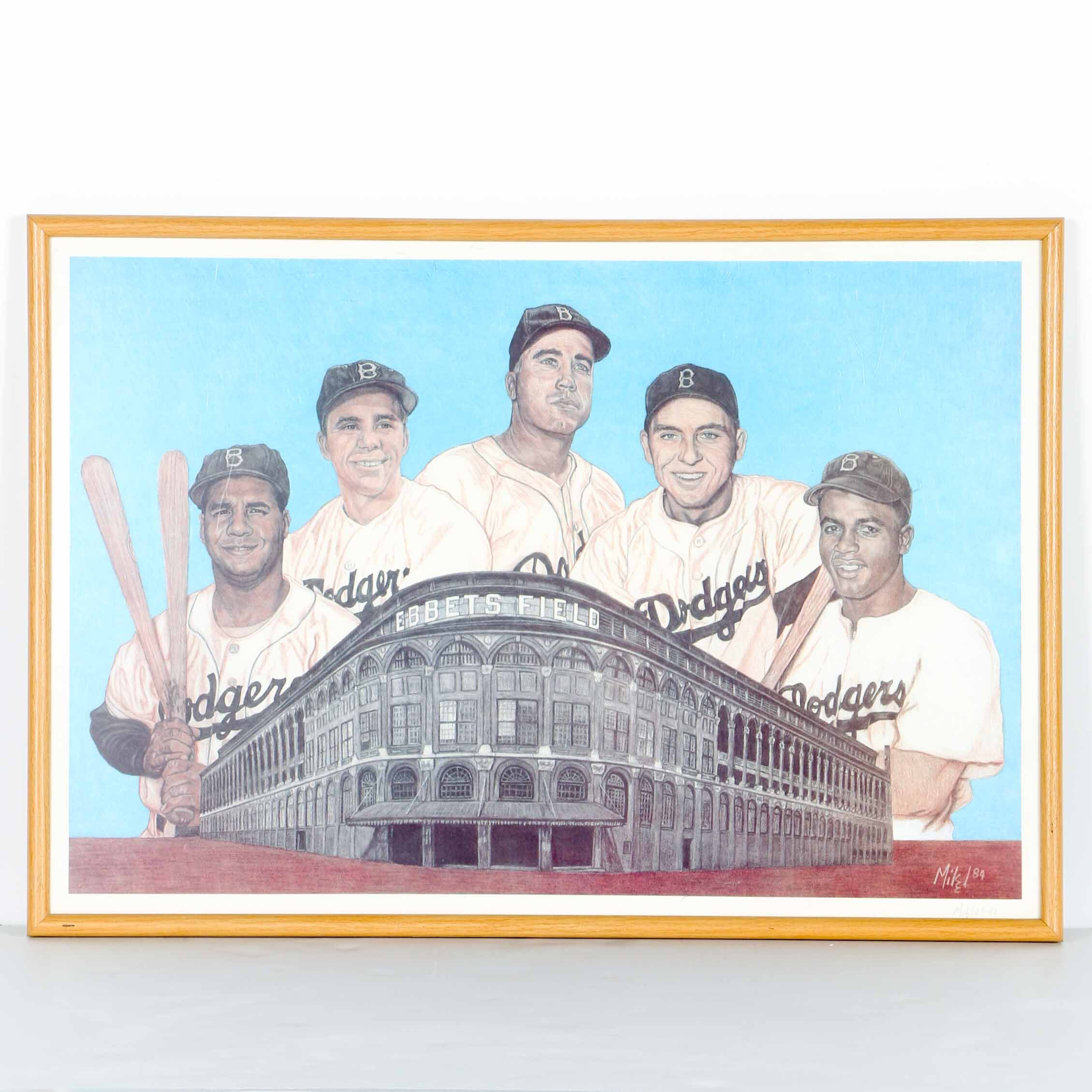 Mike Signed Offset Lithograph of the 1955 Brooklyn Dodgers