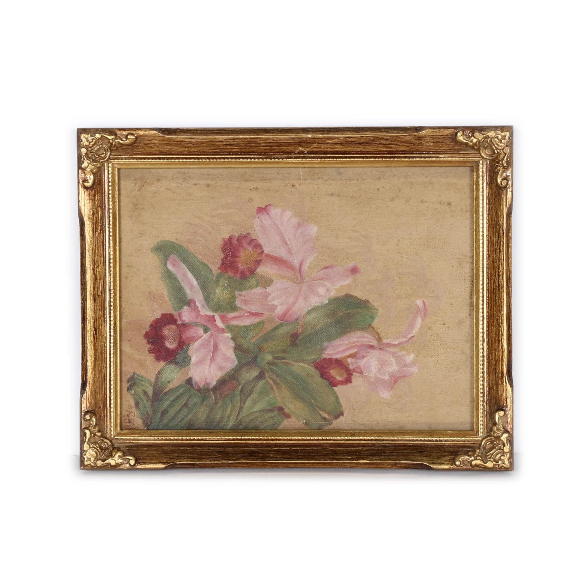 Framed Original Oil Painting of a Flower