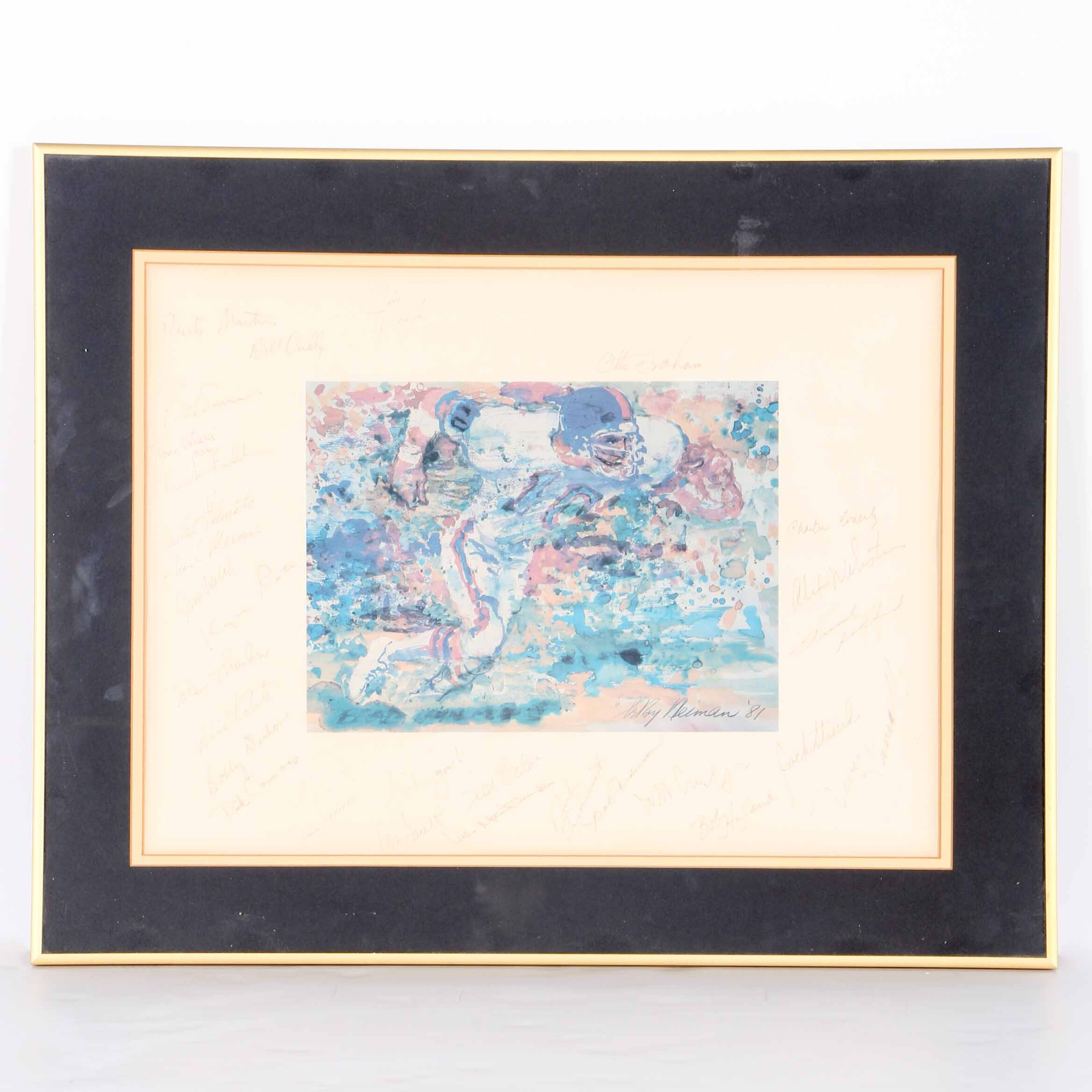Leroy Neiman Offset Lithograph Print with Football Players Signatures