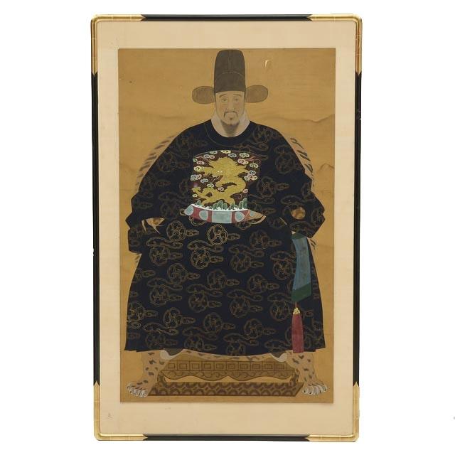 Original Gouache on Silk Portrait of Chinese Emperor