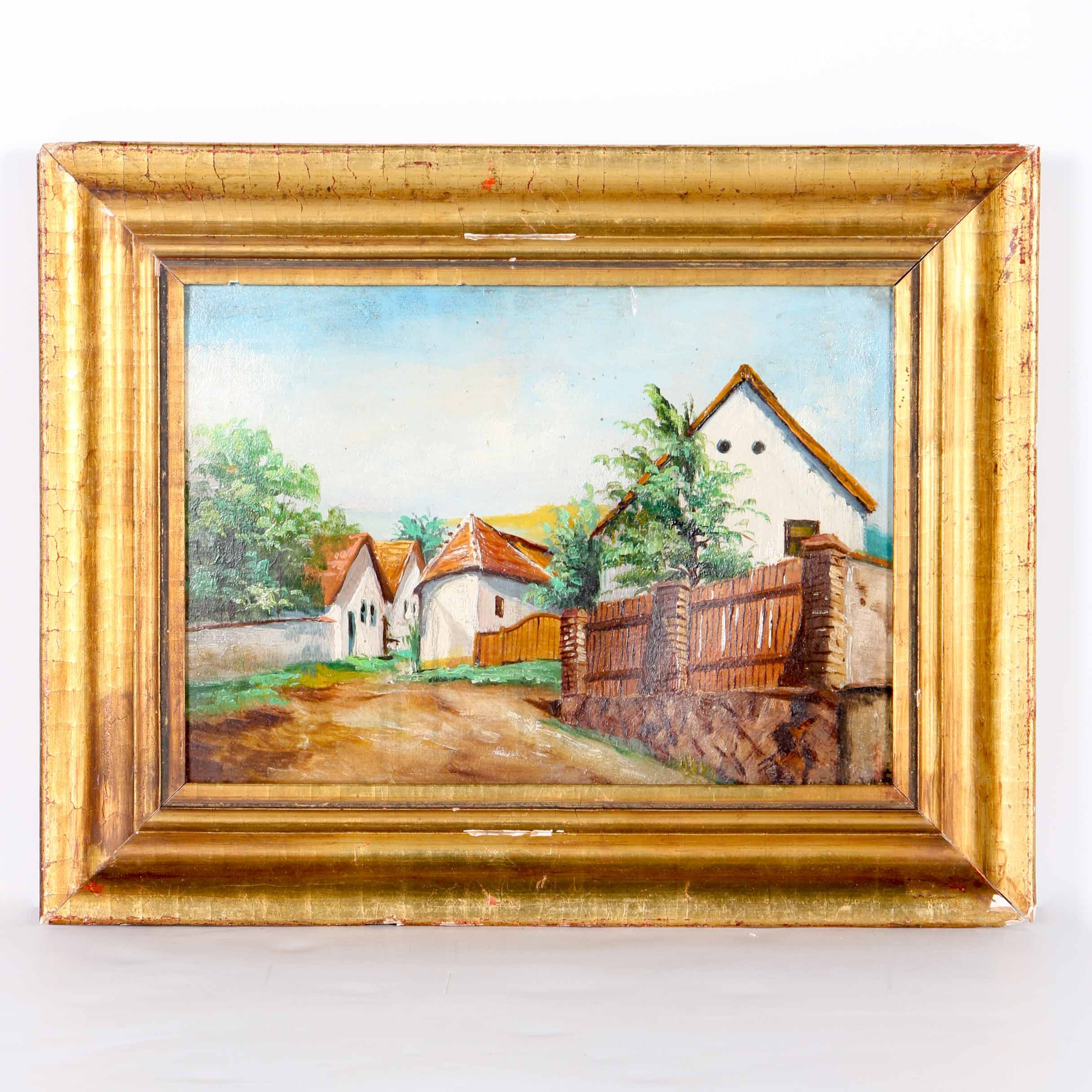 Adolphe Fenyes Original Oil Painting of a Fenced Town