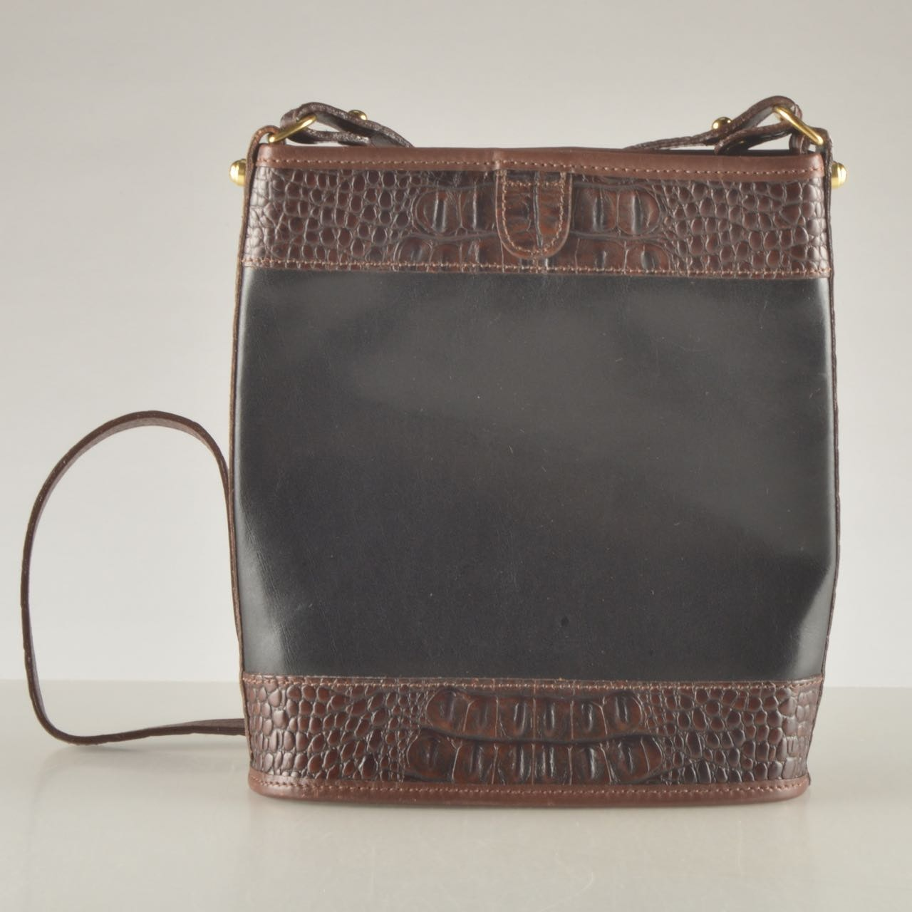 Brahmin Black and Brown Leather Cross-Body Handbag