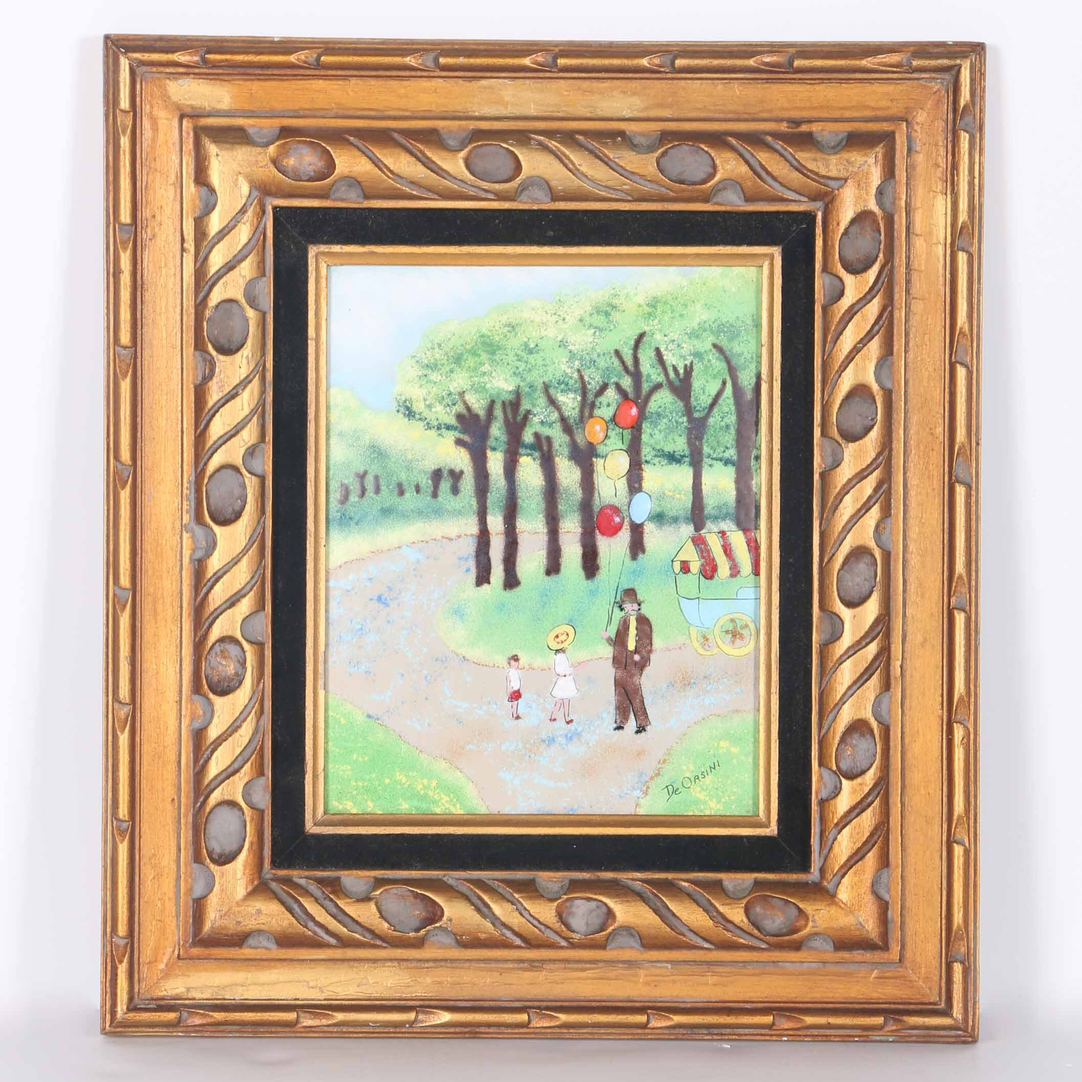 DeOrsini Oil on Copper of a Park Scene