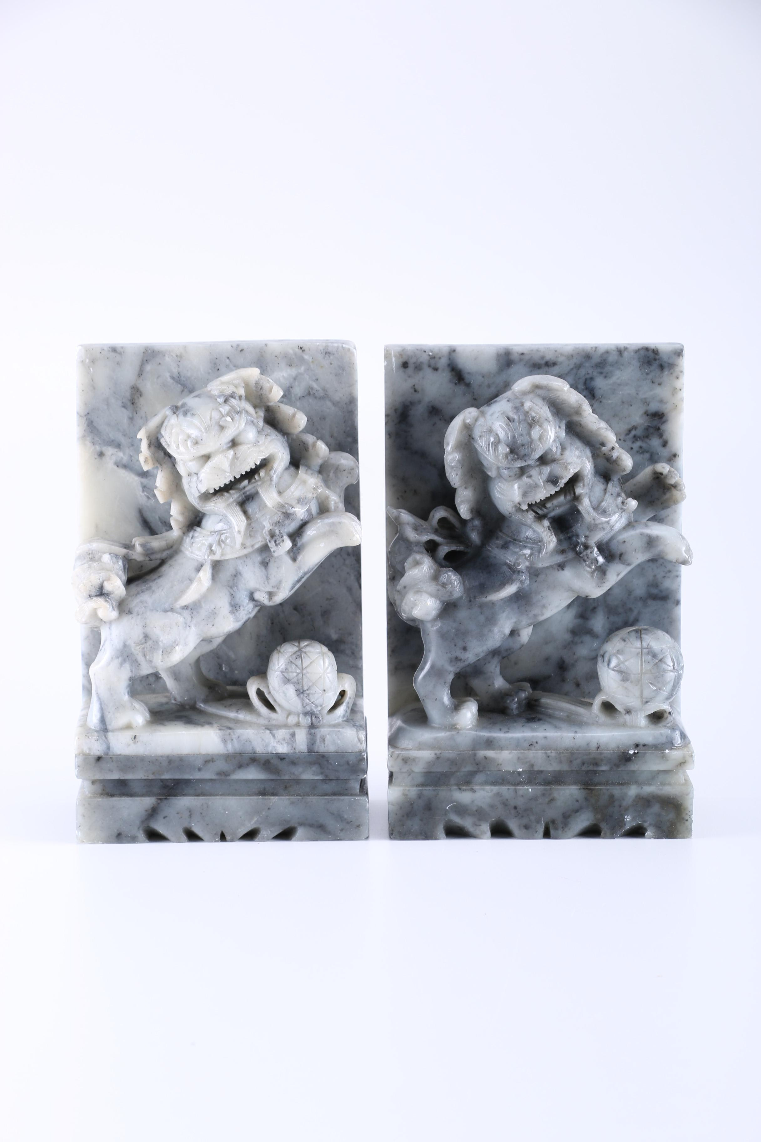 Chinese Guardian Lion Soapstone Bookends