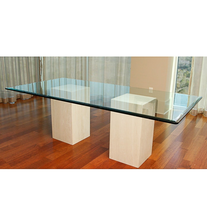 Beveled Glass and Marble Pedestal Base Dining Table EBTH : MG9500 Editjpgixlibrb 11 from www.ebth.com size 880 x 906 jpeg 87kB