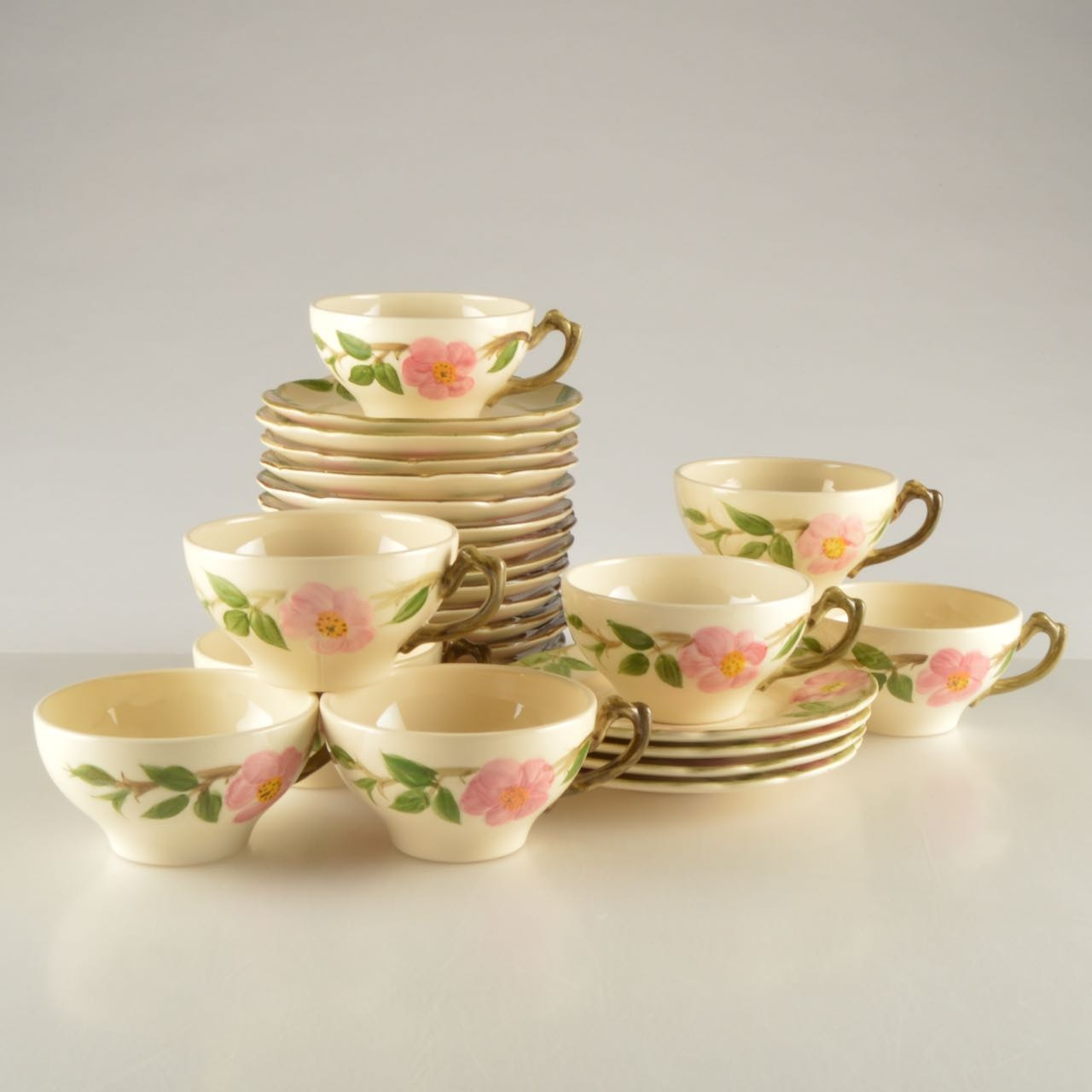 Hand-Painted Franciscan Desert Rose Cups and Saucers