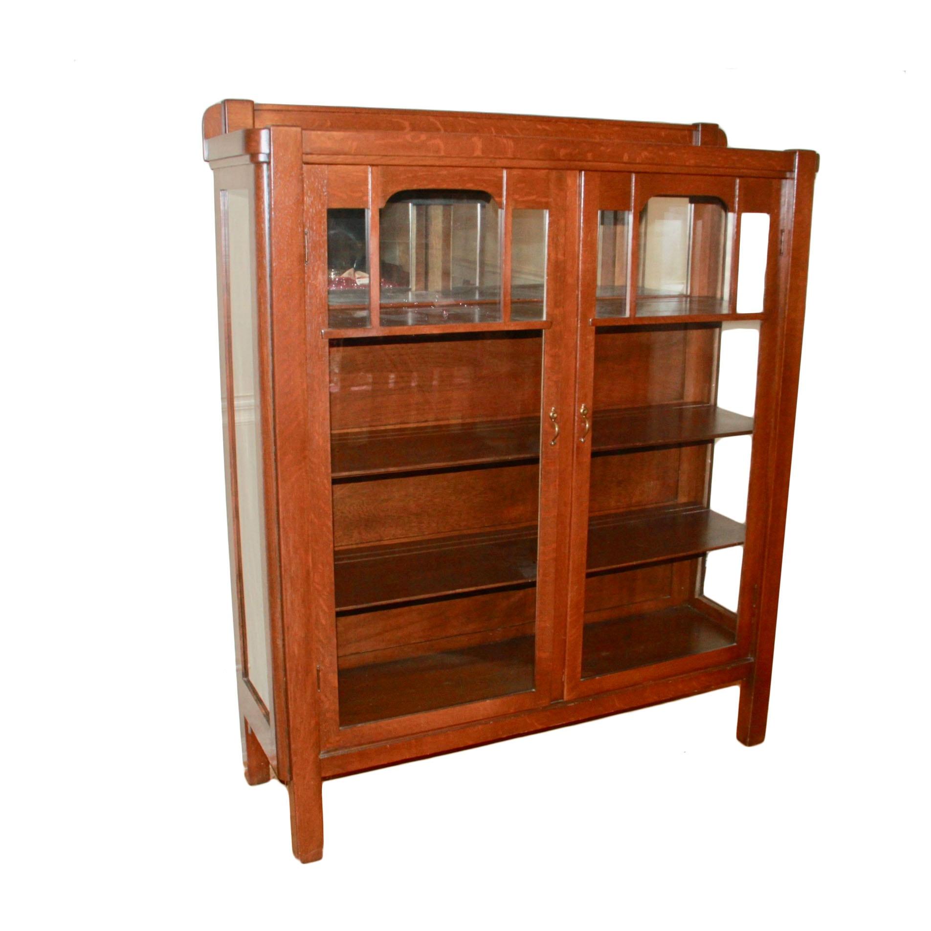 Vintage Oak Glass Front Bookcase