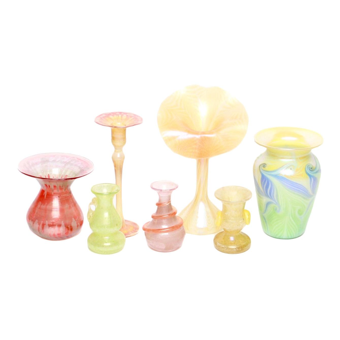 Iridescent Blown Glass Vases
