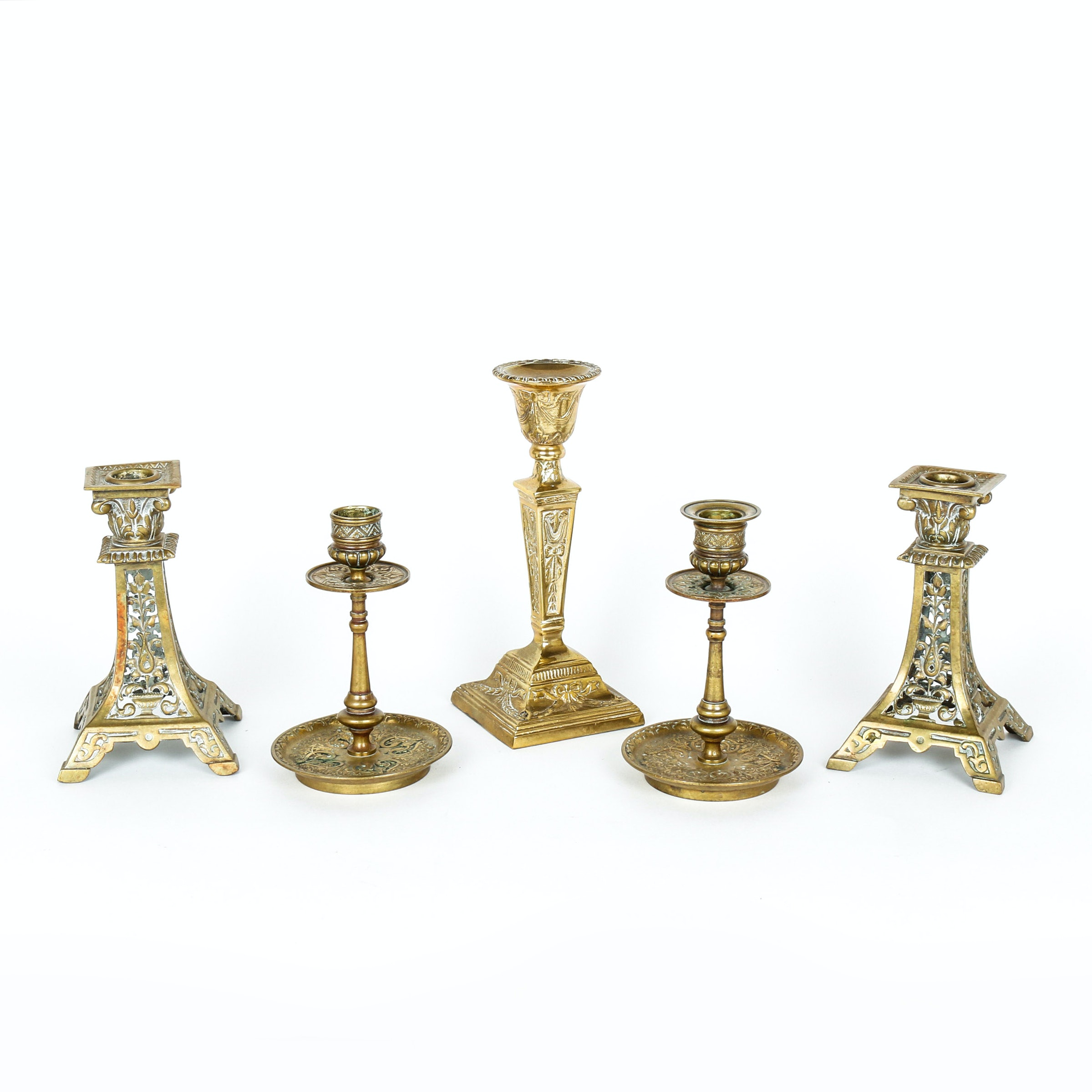 Group of Five Ornate Brass Candlestick Holders Including Andrea by Sadek