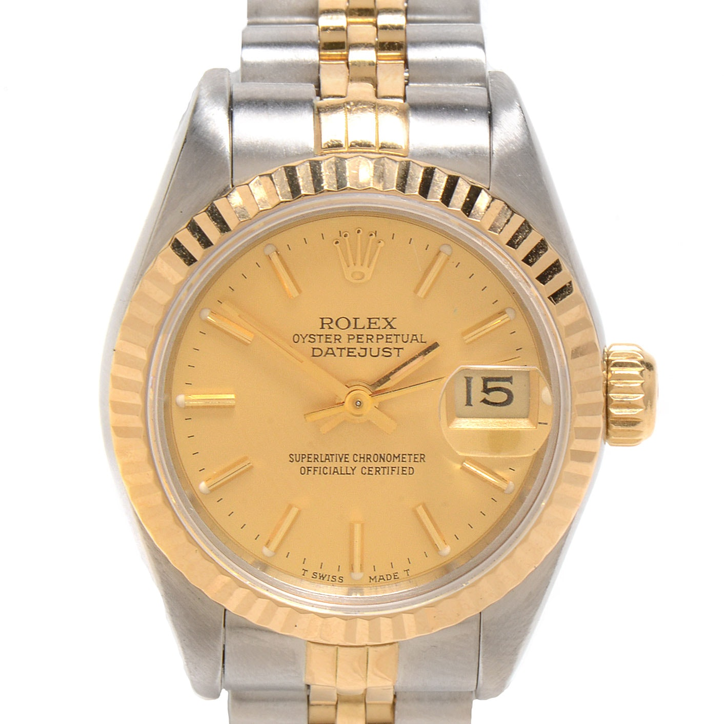 Women's Rolex Datejust 18K Yellow Gold and Stainless Steel Champagne Dial Automatic Wristwatch