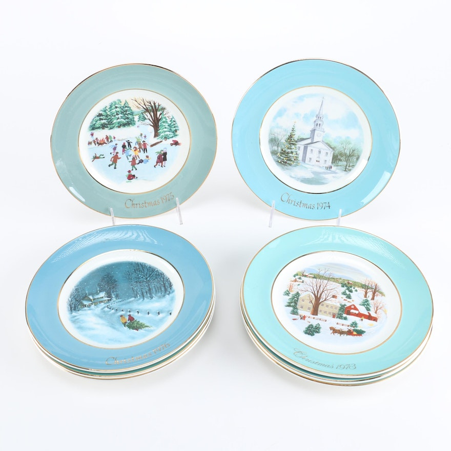 avon christmas plates by wedgwood