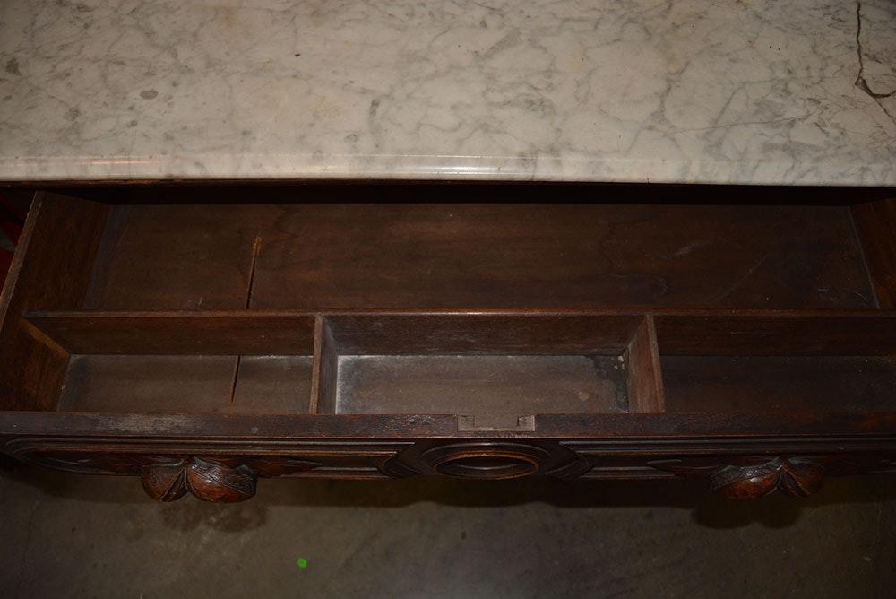 Antique Victorian Renaissance Revival Dresser With Marble