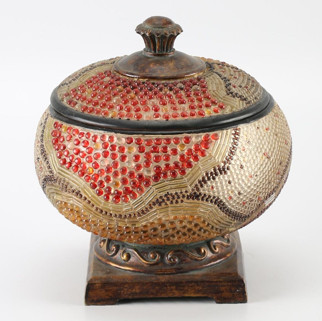 Round Beaded Urn with Wooden Base
