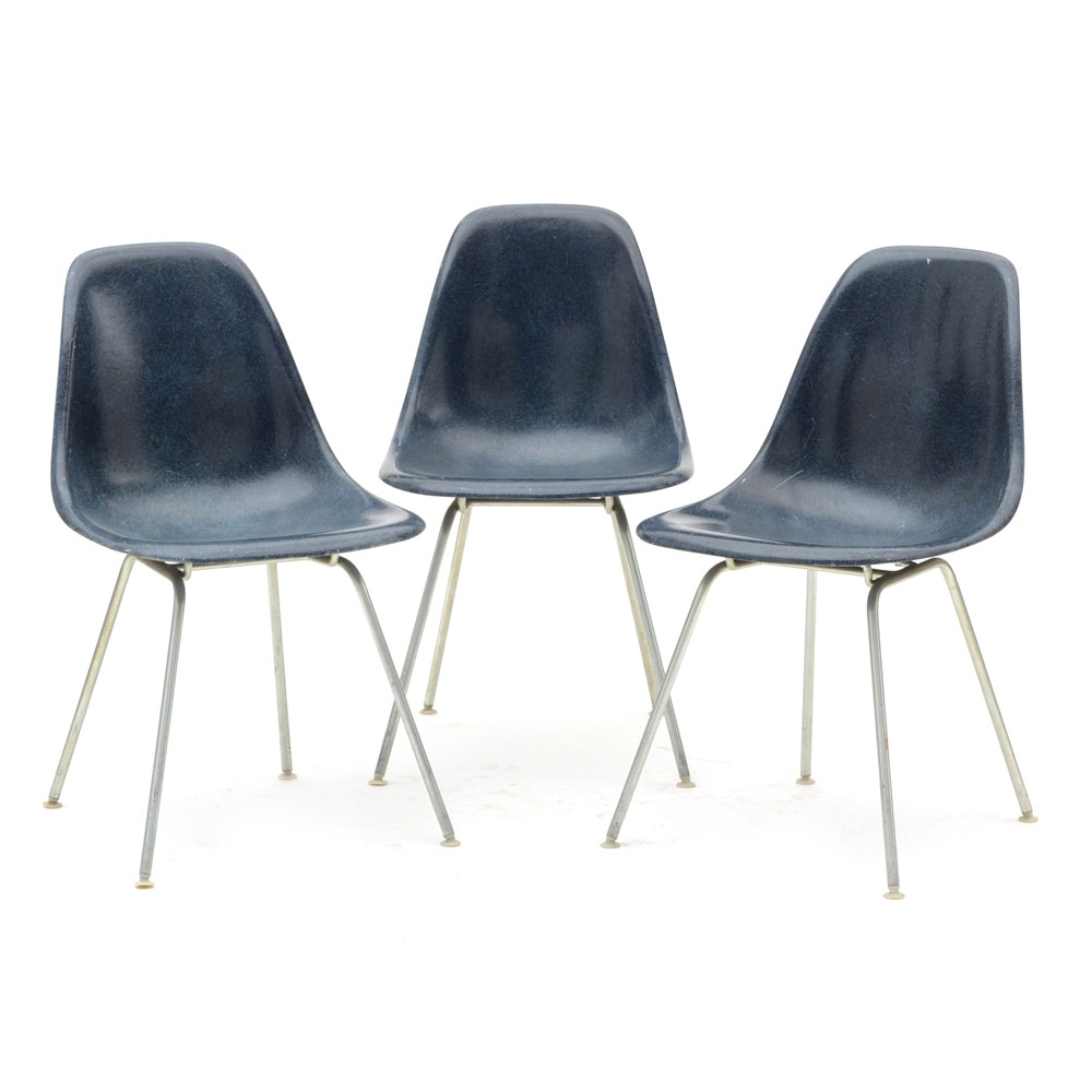 Three Mid-Century Blue Shell Eames Chairs by Herman Miller