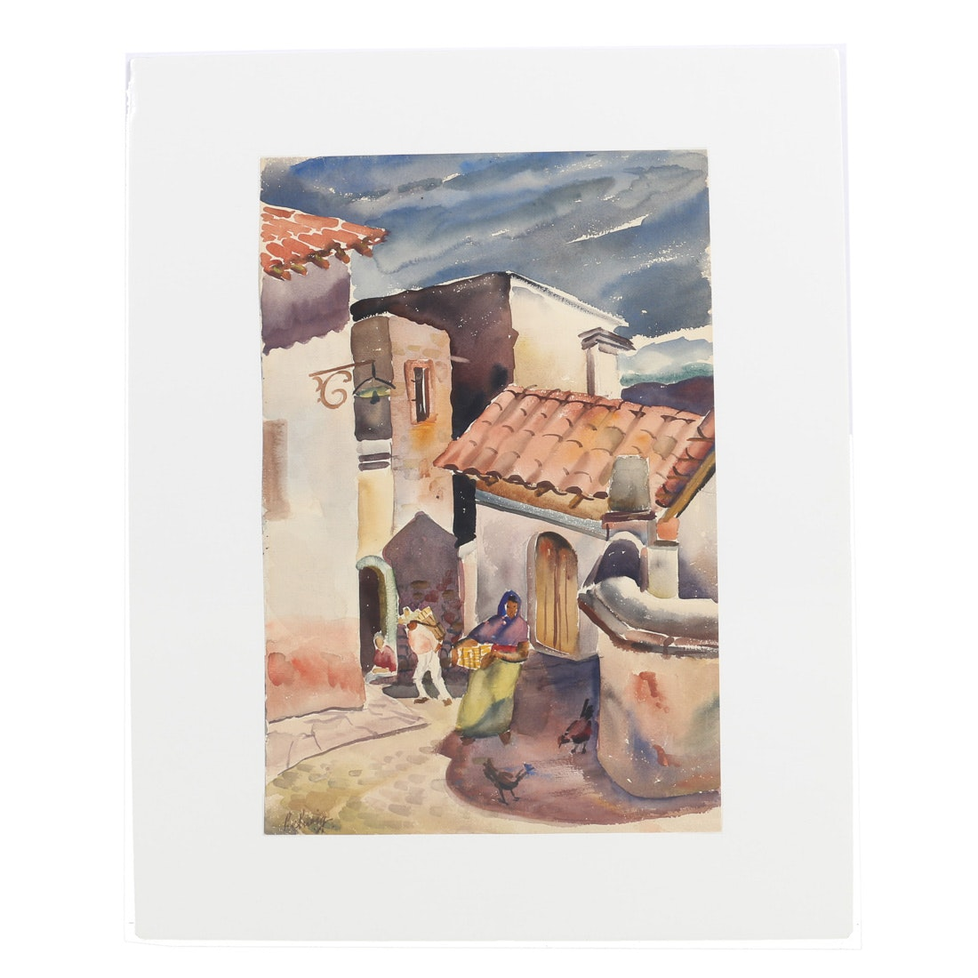 "Arthur Helwig Watercolor on Paper ""Calle Hidalgo"""