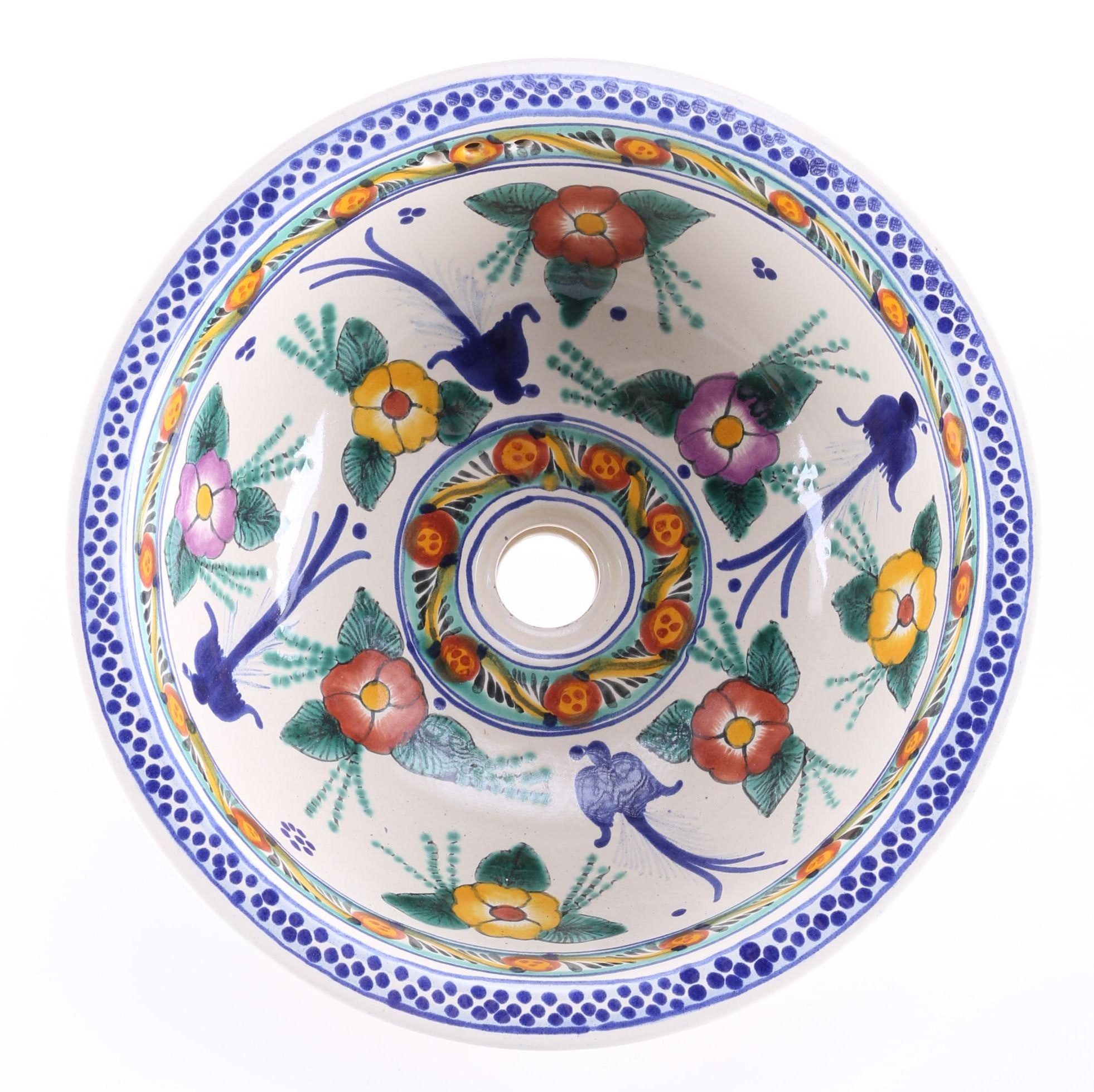 Hand-Painted Mexican Ceramic Sink Basin