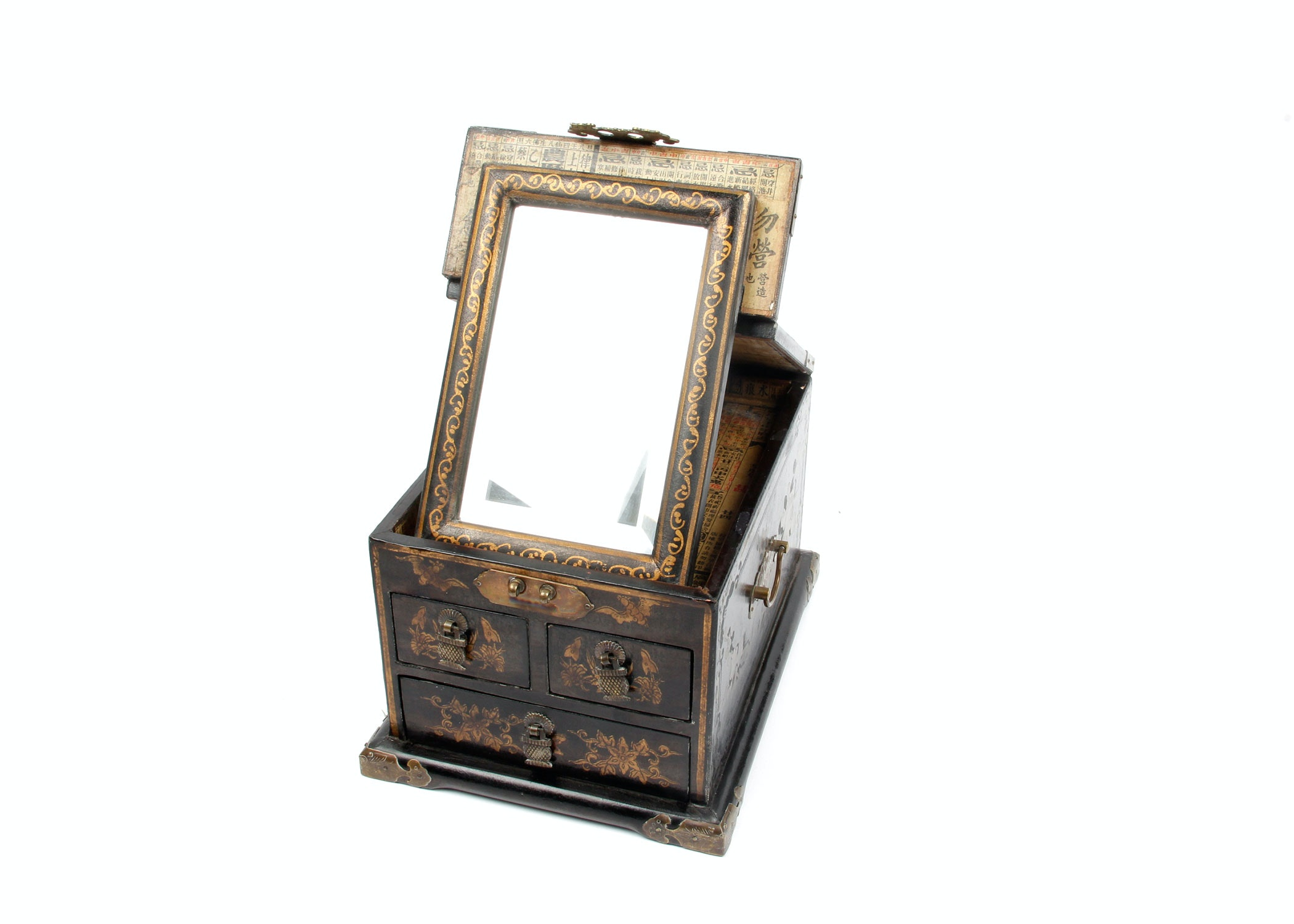 Vintage Chinese Mirrored Jewelry Chest